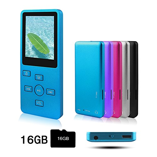 Ultrave MP3/MP4 Player with 16G SD Card, Portable Lossless Sound Player, Rechargeable MP3 Player, Also Support Ebook, Image, 1.8 inches LCD Screen MP3 Music Player -Black+White