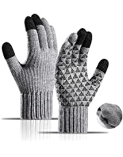 Thickened Winter Gloves, Plus Velvet Alpaca Knitted Wool Cycling Touch Screen Glove
