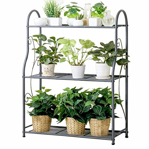 3 Tier Flower Racks Carbon Steel Metal Standing Flower Shelf for Plant Flower Pots Holder Shelves Adjustable Height Stand Garden Storage Shelf for Indoor Or Balcony Available in Gray 68x28x91cm (Greenhouse Storage)