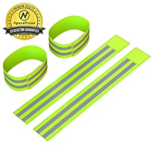Reflective Ankle Bands (4 Bands/2 Pairs) | High Visibility and Safety for Jogging/Cycling/Walking etc | Work as Wristbands, Armband, Leg Straps | Accessories for Sports/Running Gear