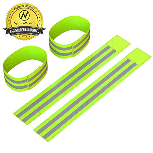 Reflective Ankle Bands (4 Bands/2 Pairs) | High Visibility and Safety for Jogging/Cycling/Walking etc | Work as Wristbands, Armband, Leg Straps | Accessories for Sports/Running Gear (Adjustable Super Strong Collar)