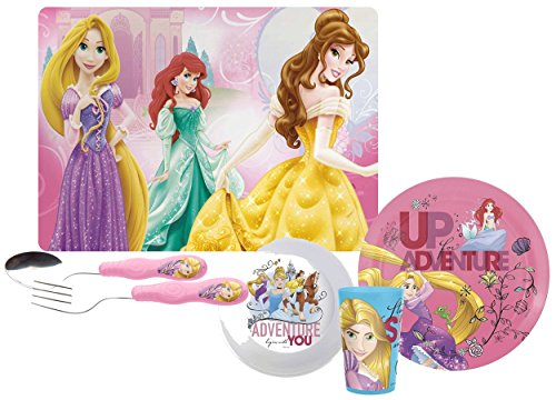 Zak! Designs Kids Mealtime Set Includes Plate, Bowl, Tumbler Cup, Fork, Spoon & Placemat! Featuring Disney Princess Graphics! BPA-free, 6 Pc - Dinnerware Disney Princess Set