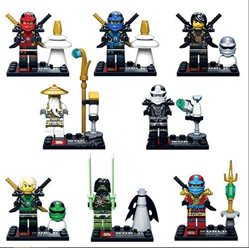 8 sets Lot Lloyd Airjitzua Moro Kai Jay Zane Sensi Wu Ninja Figure Block Toy