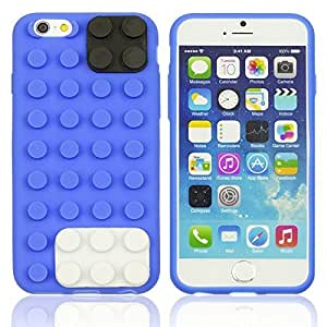 OnlineBestDigital - Brick Style Soft Silicone Case for Apple iPhone 6 Plus (5.5 inch) Smartphone - Blue with 3 Screen Protectors