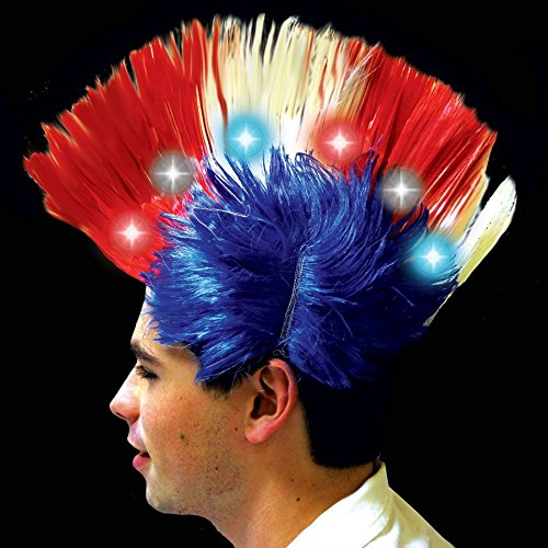 Patriotic LED and Light - Up Mohawk Wig