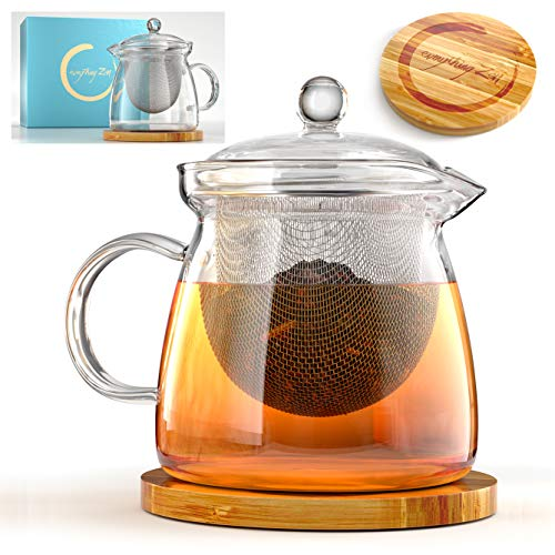 Everything Zen Teapot and Infuser Set with Bamboo Trivet in Beautiful Gift Box - Premium Quality Glass - Stainless Steel Removable Tea Strainer for Microwavable Kettle - Loose Leaf & Blooming Tea Pot ()