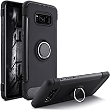 Besiva Galaxy S8 Case, Heavy Duty Protection Soft Cover Case with 360°Swivel Ring Kickstand Shock Absorption Anti-Scratch Durable Flexible Protective Case for Samsung Galaxy S8