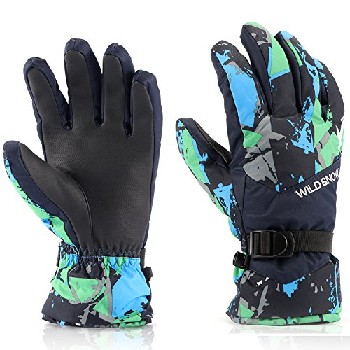 Ski Gloves,RunRRIn Winter Warmest Waterproof and Breathable Snow Gloves for Mens,Womens,ladies and Kids Skiing,Snowboarding(Black-Green-XL)