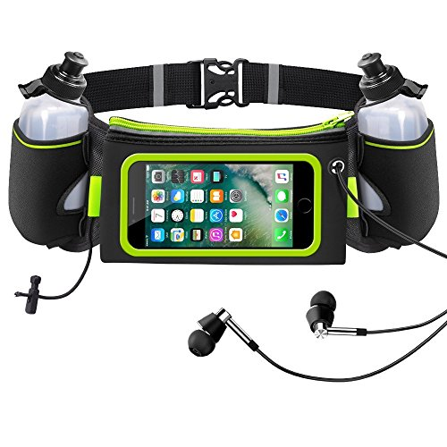 iRainy Neoprene Water-Proof Hydration Running Belt W Touchscreen Zipper Pockets Fitness Workout Belt with Two 12oz BPA-Free Leak-Proof Water Bottles Belt Fits All Smartphones (Green)