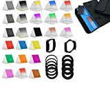 BiG DIGITAL Complete 24 piece Square Color Filter Set, Compatible with Cokin P Series - Includes: Graduated Yellow, Graduated Green, Graduated Purple, Graduated Blue, Graduated Brown, Graduated Red, Graduated Pink, Graduated Orange, Full Yellow, Full Purple, Full Orange, Full lPink, Full Brown, Full Green, Full Blue and Full Red Filters. + Neutral Density (ND) Filters , Graduated ND2, ND4, ND8 and