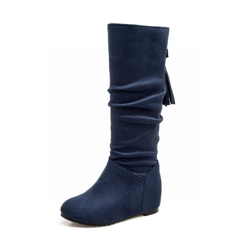 Schuhe - Winter Warme Lange Röhre Runden Kopf Stiefel Innere Innere Innere Erhöhung Bequeme Kurze Flache Stiefel   34-43 Damen Stiefel e7bb09