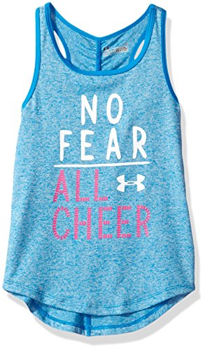Under Armour Little Girls' Active Tank Tops, Blue Lotus Comingle, 4 (Girls Shirts Under Armour)