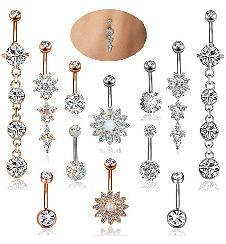 YOVORO 12PCS 14G Stainless Steel Dangle Belly Button Rings for Women Girls Navel Rings Barbell Body Piercing Jewelry (Rings Dangly Belly Button Gold)