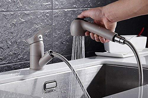 Eeayyygch Küchenarmaturen Küchenarmatur Aus massivem Messing Ausziehbarer Kopf Warm- und Kaltwassermischer (Farbe   -, Größe   -)