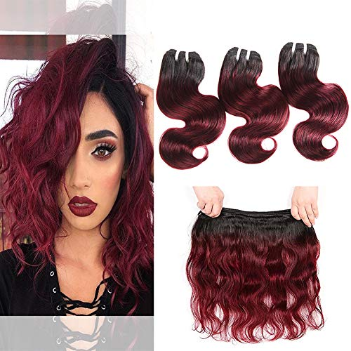Body Wave Red Wine Human Hair 3 Bundles 1b 99j Two Tone Hair Mink Brazilian Body Wave Short Weave Unprocessed Virgin Soft Bob Wavy Hair 50g/Bundle (Ombre Burgundy Color, 10 -