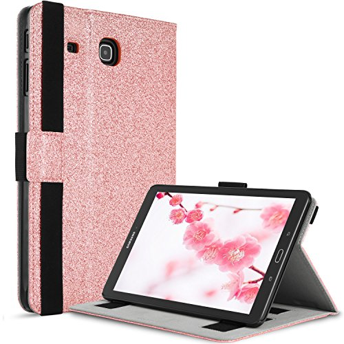 BENTOBEN Samsung Galaxy Tab E 9.6 Case, Sparkly Glitter Bling Slim Faux Leather Folio Stand Cover Full Body Shockproof Protective Case for Galaxy Tab E 9.6 Case,Rose Gold by BENTOBEN