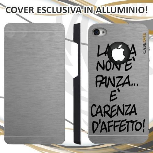 CUSTODIA COVER CASE LA PANZA PER IPHONE 4 ALLUMINIO TRASPARENTE