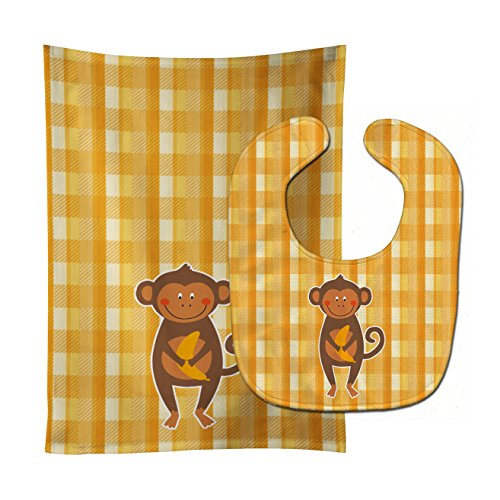 Caroline's Treasures Baby Bib & Burp Cloth, Monkey Business, Large