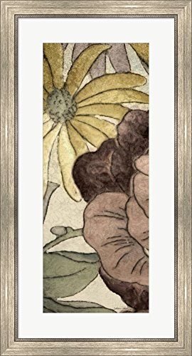 Great Art Now Earthtone Floral Panel IV by Catherine Kohnke Framed Art Print Wall Picture, Silver Scoop Frame, 19 x 35 - Floral Earthtone Panel