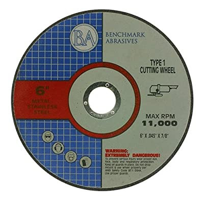 "6"" x .045 x 7/8"" T1 Premium Thin Cut-Off Wheel Metal & Stainless Steel - 25 pack by Benchmark Abrasives"