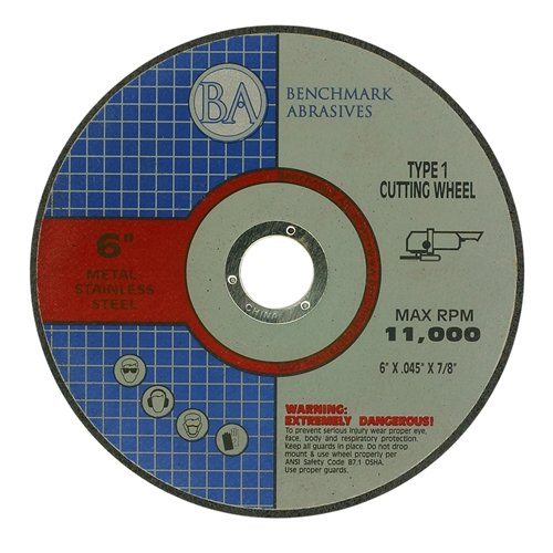 6'' x .045 x 7/8'' T1 Premium Thin Cut-Off Wheel Metal & Stainless Steel - 25 pack by Benchmark Abrasives
