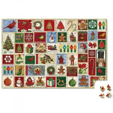 """Holiday Stamp Puzzle- 1000 piece Christmas Puzzle, 20"""" x 30"""""""