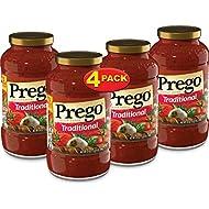 Prego Pasta Sauce, Traditional Italian Tomato Sauce, 24 Ounce Jar (Pack of 4)