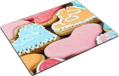 MSD Place Mat Non-Slip Natural Rubber Desk Pads design 24176548 Valentine cookies with the words I love you on the table
