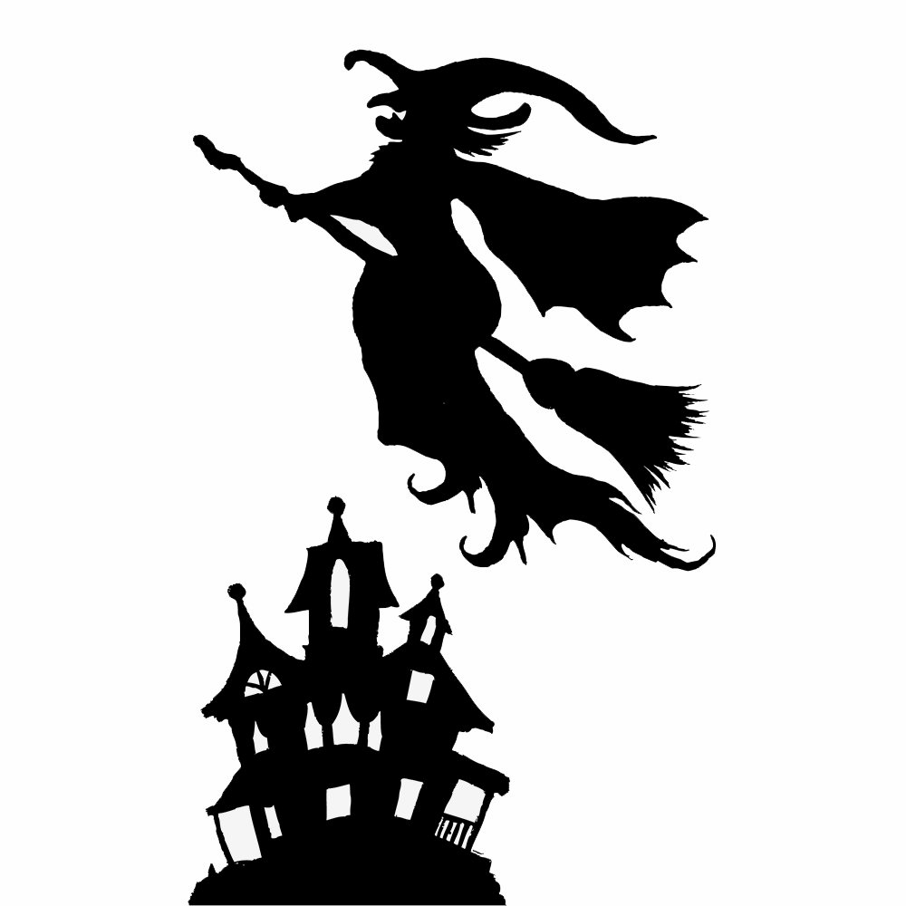 Spooky Hollow Halloween Window Decoration Witch or Cat Silhouette ...