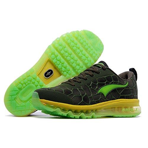 ONEMIX Air Zapatillas de Running para Hombre Zapatos para Correr y Asfalto Aire Libre y Deportes Calzado Negro Verde / Amarillo