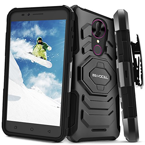 T-Mobile REVVL Plus Case, Evocel [New Generation] Rugged Holster Dual Layer Case [Kickstand][Belt Swivel Clip] for T-Mobile REVVL Plus, Black (EVO-COPLUS-XX01) (T-mobile Clip)