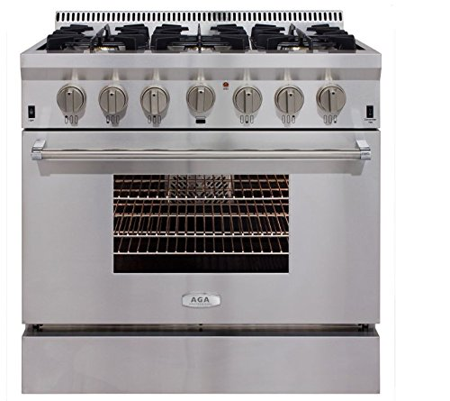 """AGA APRO36AGSS 36"""" Professional Gas Range with RapidBake Convection, Stainless Steel"""