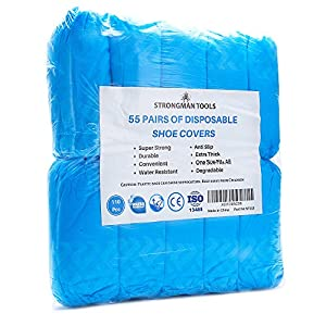 Strongman Tools High-Quality Extra-Thick Disposable Shoe Covers - packaging
