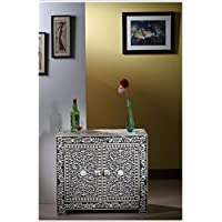 Floral Bone Inlay Small Sideboard (Black)
