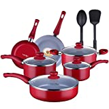 Lovepan Peas Pots and Pans Set, Gray Ceramic Coating Nonstick Aluminum Cookware Set With glass lids and Nylon Utensils, Dishwasher Safe PTFE, PFOA Free, 12-PCS, Red For Sale