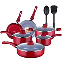 Lovepan Peas Pots and Pans Set, Gray Ceramic Coating Nonstick Aluminum Cookware Set With glass lids and Nylon Utensils, Dishwasher Safe PTFE, PFOA Free, 12-PCS, Red