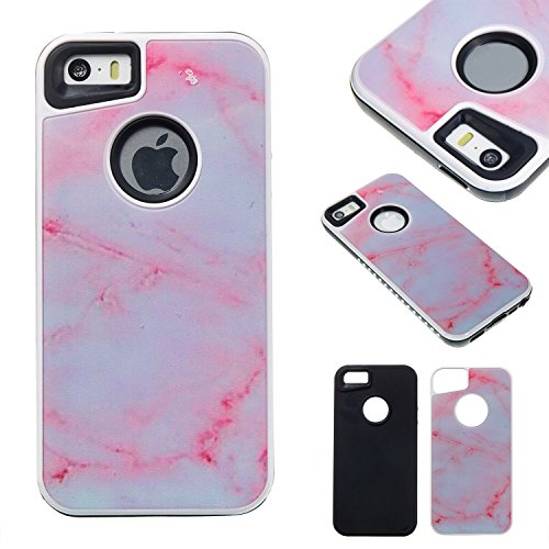 HYAIT® For IPHONE 5S/SE Case[Marble][Kickstand] TPU+PC Premium Hybrid Shockproof Kickst Bumper Full-body Rugged Dual Layer Stents Cover-DLS04