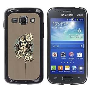 // PHONE CASE GIFT // Duro Estuche protector PC Cáscara Plástico Carcasa Funda Hard Protective Case for Samsung Galaxy Ace 3 / Mujer floral /