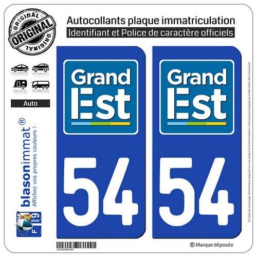 blasonimmat 2 Autocollants Plaque immatriculation Auto 54 Grand Est - Logotype