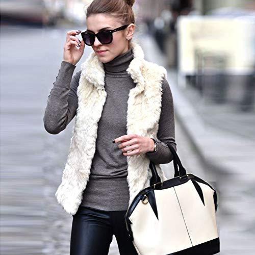 Blanco Bbsmile Dama Chaqueta Calido Mujer Ropa Abrigo Abrigos Elegantes De Invierno Piel Calle Sintética Parka Corto Z7wxgZ1