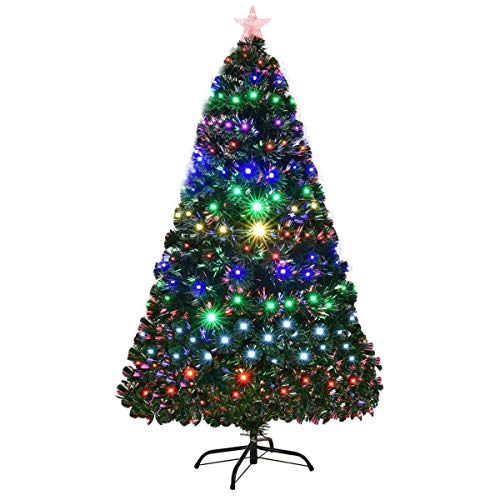 Goplus 5FT Artificial Christmas Tree Pre-Lit Optical Fiber Tree 8 Flash Modes W/UL Certified Multicolored LED Lights & Metal Stand (7-5 Ft Pre Lit Artificial Christmas Trees)