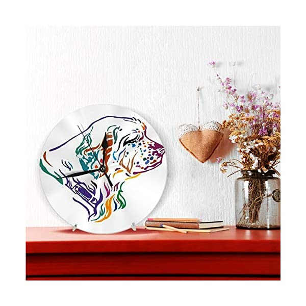 Yxungdiy Modern Decorative Round Wall Clock Colorful Outline Portrait Dog Clumber Spaniel Battery Operated 9.8IN 3
