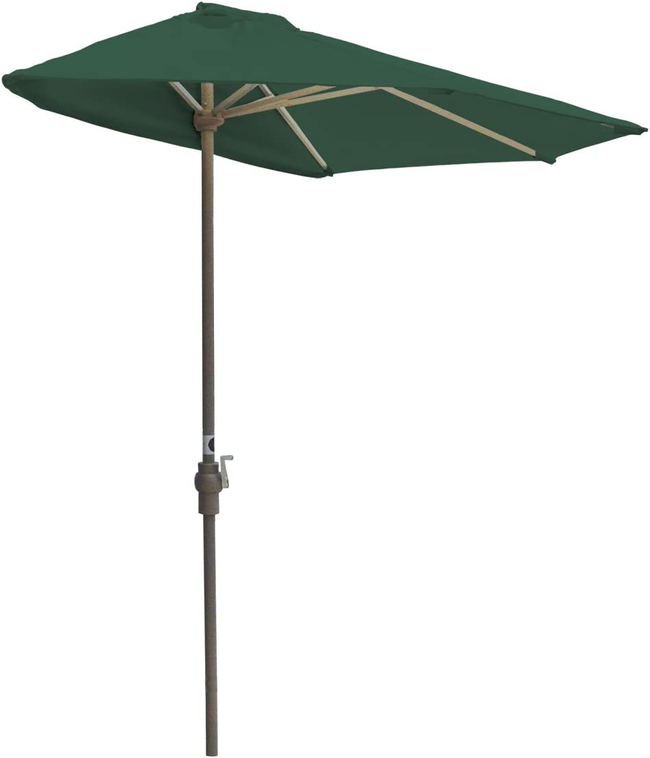 Blue Star Group Off-The-Wall Brella Sunbrella Half Umbrella, 9 -Width, Forest Green