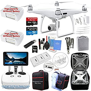 DJI Phantom 4 PRO PLUS (PRO+) Drone Quadcopter (Remote W/ Integrated Touch Screen Display) Bundle Kit with 2 Batteries, 4K Professional Camera Gimbal
