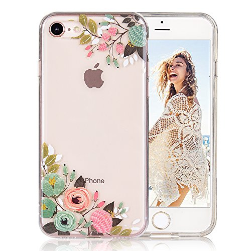 (COSANO iPhone 8 case, for iPhone 7 case girls Floral Clear Design soft slim Fit [Hard PC Back + Shock Absorbing Soft Bumper] Transparent Protective Cover for iPhone 7 iPhone 8 (Vintage Floral 8))