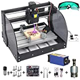 MYSWEETY DIY CNC 3018PRO-M 3 Axis CNC Router Kit with 7000mW 7W Module + PCB Milling, Wood Carving Engraving Machine with Offline Control Board + ER11 and 5mm Extension Rod(Black) (Color: Black, Tamaño: Full Size)