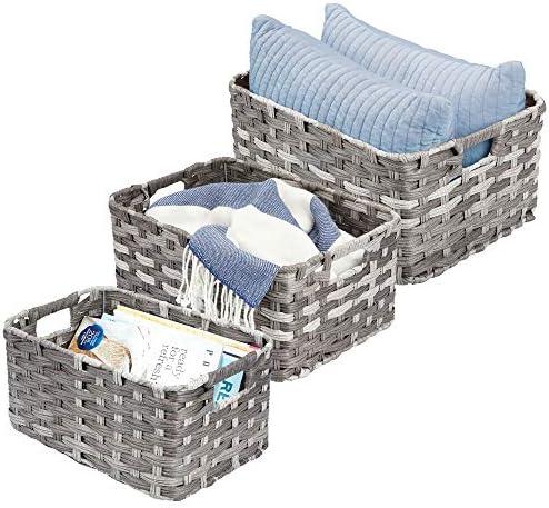 caja organizadora para cocina o toallero mDesign Juego de 2 cestas de ba/ño con asa Para usar como organizador de cosm/éticos Cesta para ducha peque/ña en pl/ástico resistente gris humo
