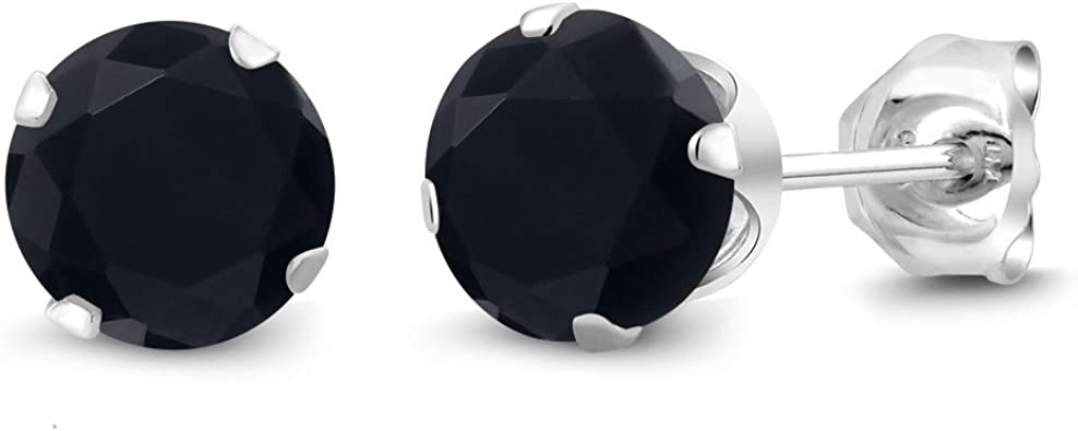 9MM Solitaire Stud Earrings 14K Black Gold Over .925 Sterling Silver For Womens Bezel Set Round Cut Created Gemstones