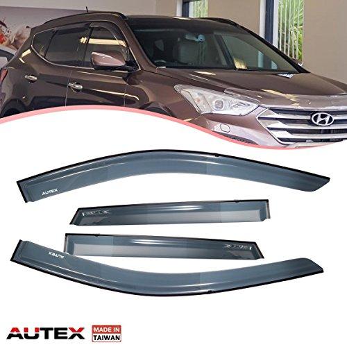 AUTEX 4 Pcs Tape On Window Visor Compatible with Hyundai Santa Fe 2013 2014 2015 2016 2017 2018 Window Deflector Visor Sun Rain Shade Wind Guard, Made in - Fe Vent Santa