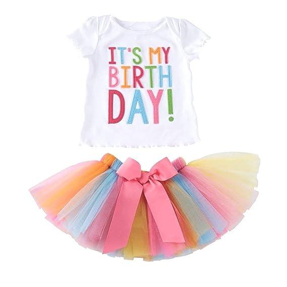 Le SSara Es mi cumpleaños Bordado Camiseta y Falda Plisada de Las Muchachas del bebé Establece